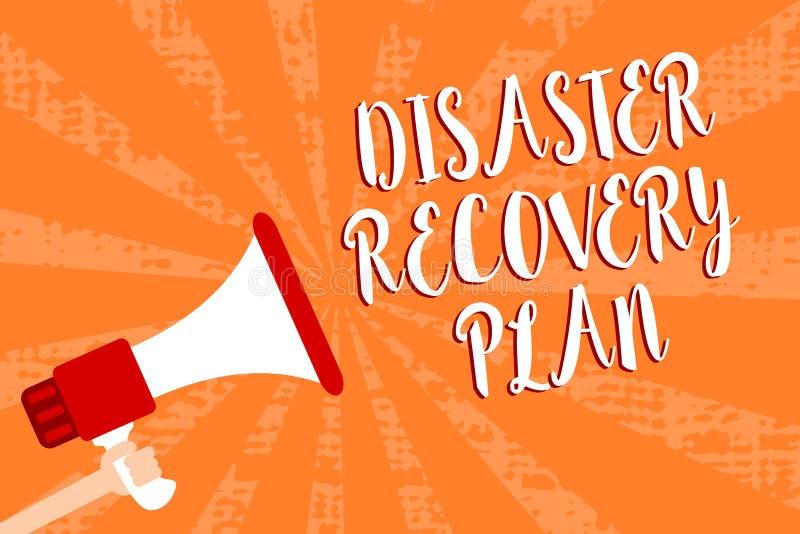 Begreppsmässigt plan för återställning för katastrof för handhandstilvisning Affärsfoto som ställer ut ha reservmått mot farlig s royaltyfri illustrationer