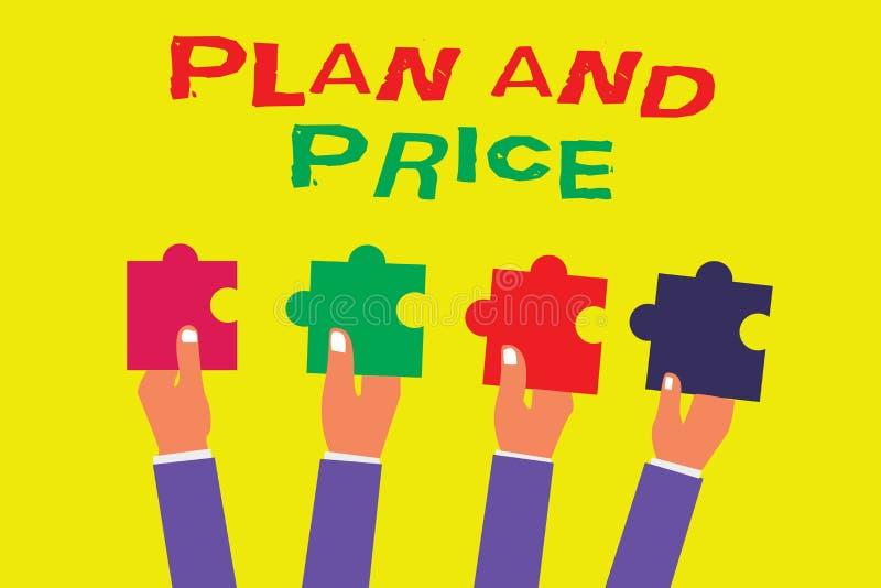 Begreppsmässigt plan och pris för handhandstilvisning Affärsfoto som ställer ut ställa in det anständiga priset för produkt till  royaltyfri illustrationer