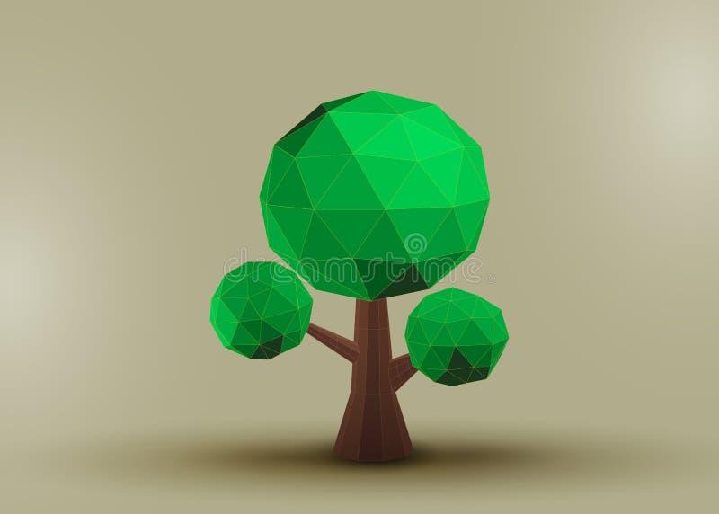 Begreppsmässigt polygonal träd royaltyfri illustrationer