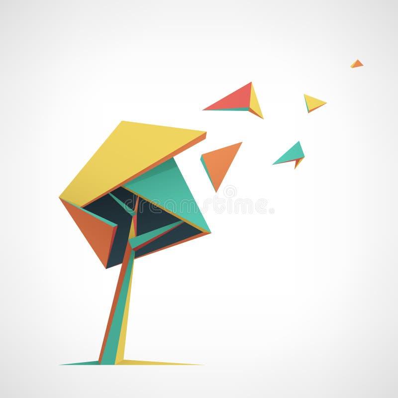 Begreppsmässigt polygonal träd Abstrakt vektor stock illustrationer