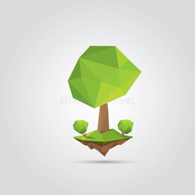 Begreppsmässigt polygonal träd också vektor för coreldrawillustration vektor illustrationer