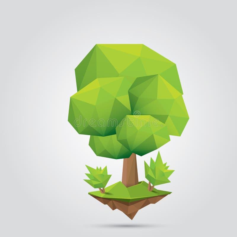 Begreppsmässigt polygonal träd också vektor för coreldrawillustration royaltyfri illustrationer