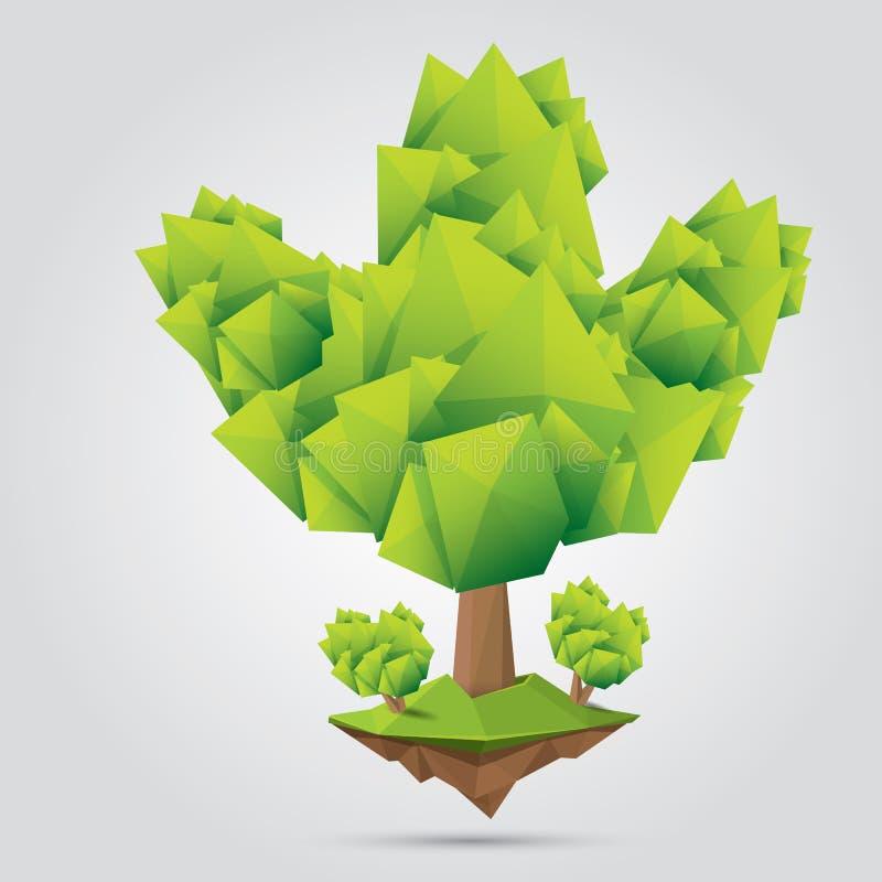 Begreppsmässigt polygonal träd också vektor för coreldrawillustration stock illustrationer