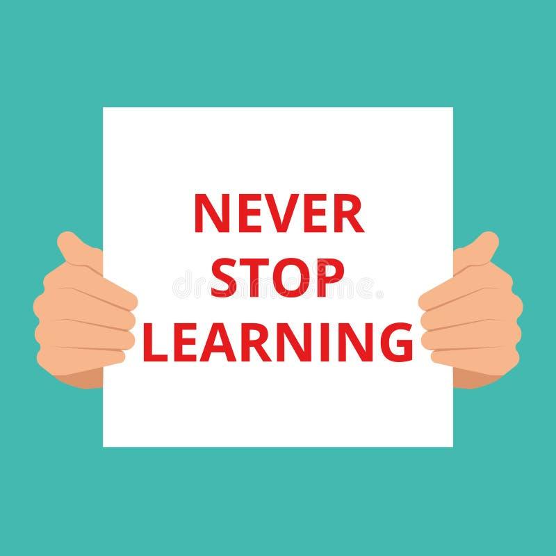 Begreppsmässigt skrivande lära för stopp för visning aldrig stock illustrationer