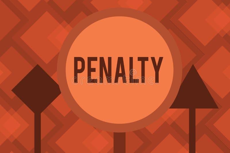 Begreppsmässigt straff för handhandstilvisning Bestraffning för affärsfototext som läggs på för avbrott av av en lagregel eller a vektor illustrationer
