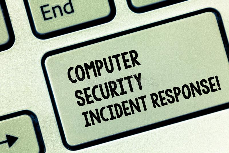 Begreppsmässigt svar för säkerhet för dator för handhandstilvisning infallande Affärsfoto som ställer ut teknologifelsäkerhet arkivfoton