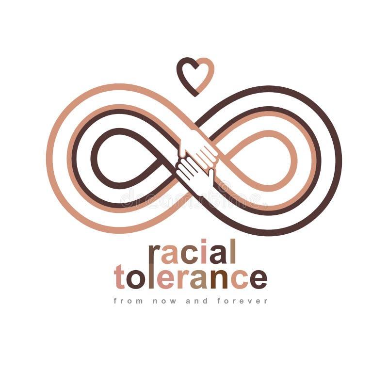 Begreppsmässigt symbol för ras- tolerans, Martin Luther King Day som är noll vektor illustrationer