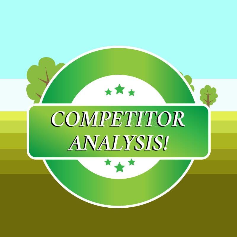 Begreppsm?ssig analys f?r konkurrent f?r handhandstilvisning Att ställa ut för affärsfoto bestämmer styrkasvagheten av vektor illustrationer