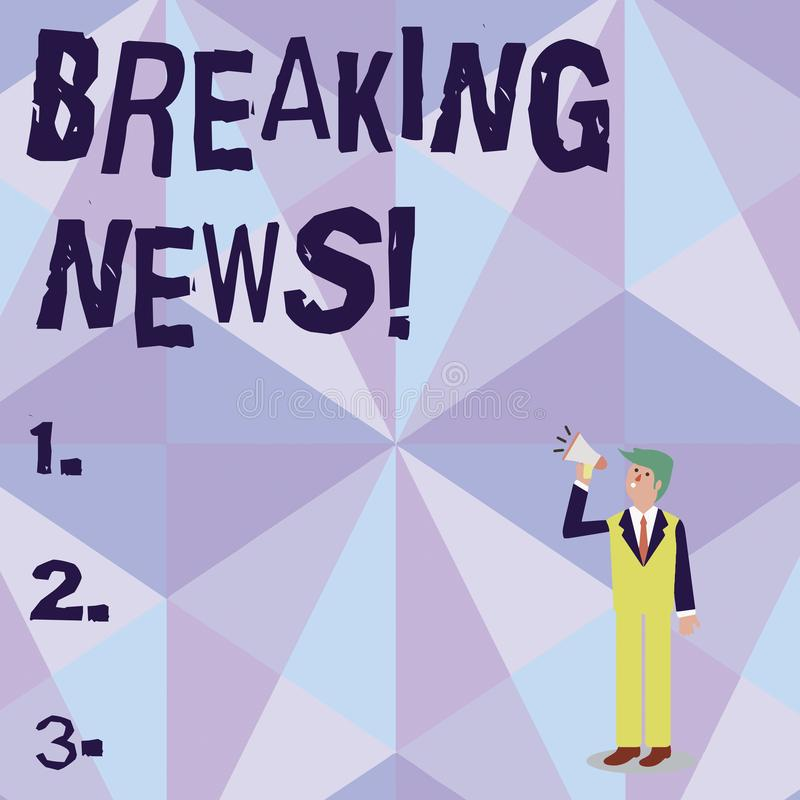 Begreppsm?ssig breaking news f?r handhandstilvisning Affärsfotoet som nyligen ställer ut, mottog information om en händelse och royaltyfri illustrationer