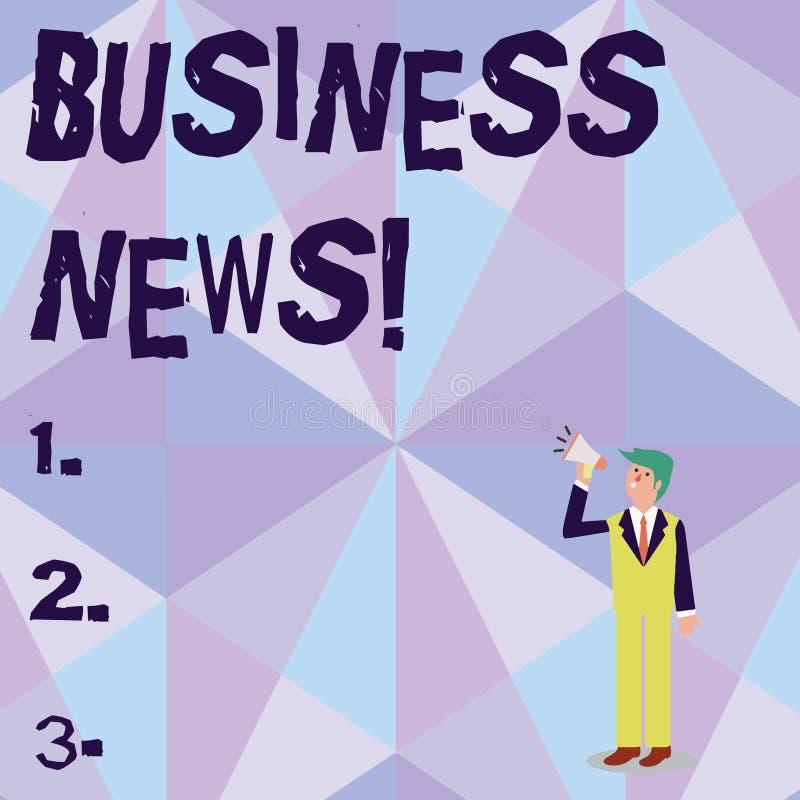 Begreppsm?ssig ekonominyheter f?r handhandstilvisning Affärsfotoet som ställer ut information, anmälde i en tidning eller en nyhe vektor illustrationer