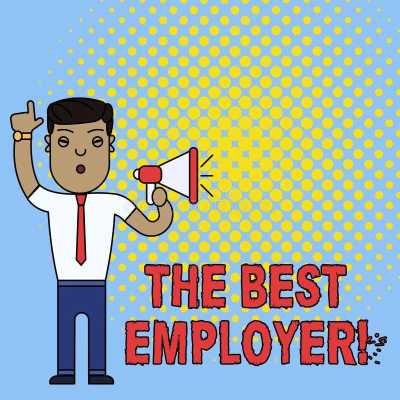Begreppsm?ssig handhandstil som visar den b?sta arbetsgivaren Aff?rsfototext skapade arbetsplatsvisningk?nsel h?rde och stock illustrationer