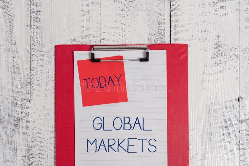 Begreppsm?ssig handhandstil som visar globala marknader Affärsfototext som sammanlagt handlar varor och tjänst länderna av royaltyfri foto