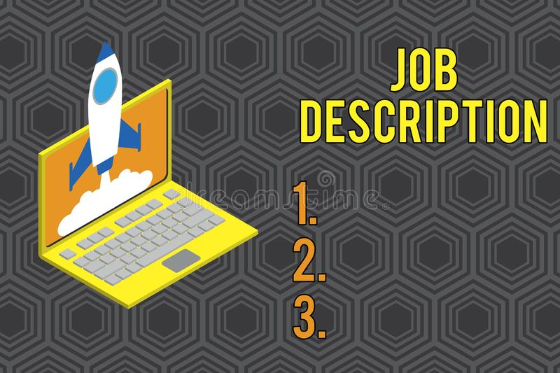 Begreppsm?ssig handhandstil som visar Job Description Affärsfototext ett formellt konto av anställd s är stock illustrationer