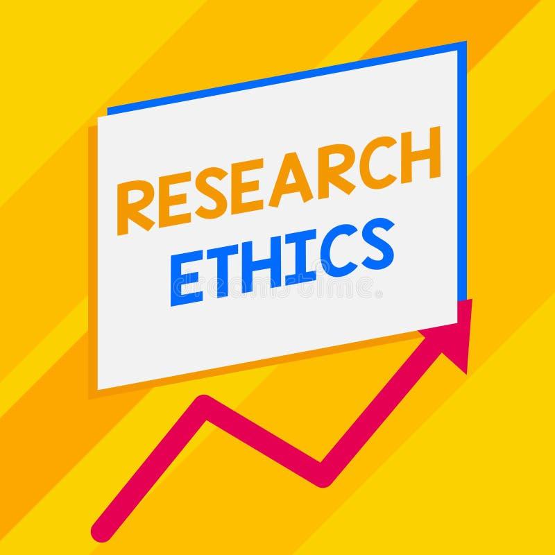 Begreppsm?ssiga etik f?r forskning f?r handhandstilvisning Ställa ut för affärsfoto som är intresserat i analysofethicalissuesna royaltyfri illustrationer