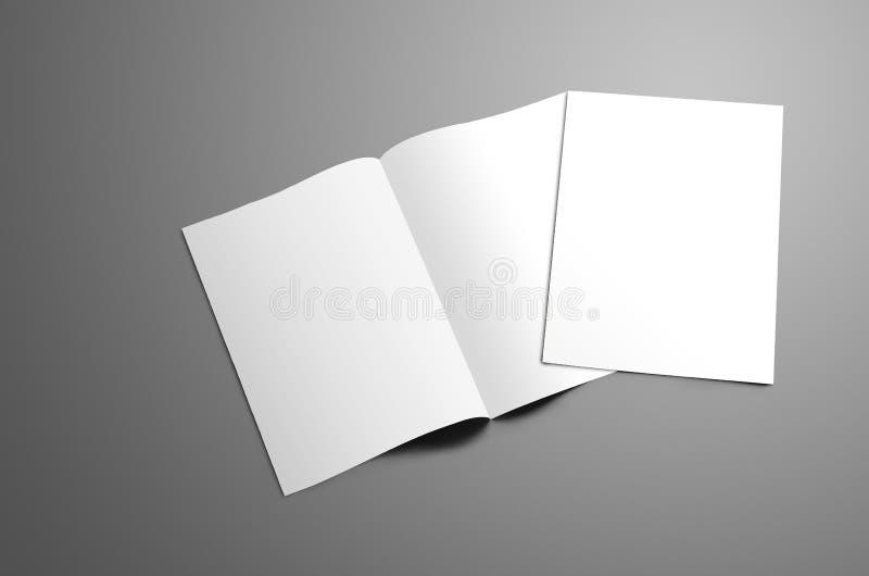 Begreppsmodell med två tomma A4, bi-veck A5 broschyr med s royaltyfri fotografi