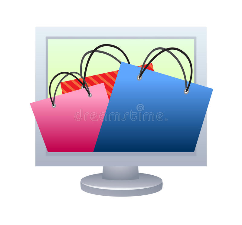 begreppsonline-shopping royaltyfri illustrationer