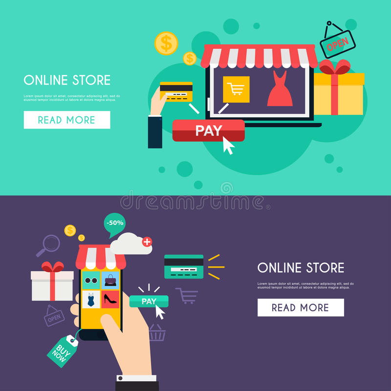 Begreppsonline-shopping och e-kommers vektor illustrationer