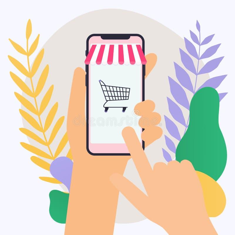 Begreppsonline-shopping och e-kommers Symboler för mobil marketi royaltyfri illustrationer