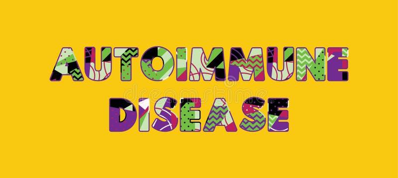 Begreppsord Art Illustration för Autoimmune sjukdom royaltyfri illustrationer