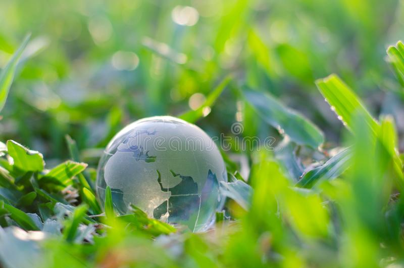 Begreppsräddningen världsräddningmiljön världen är i gräset av den gröna bokehbakgrunden royaltyfria foton