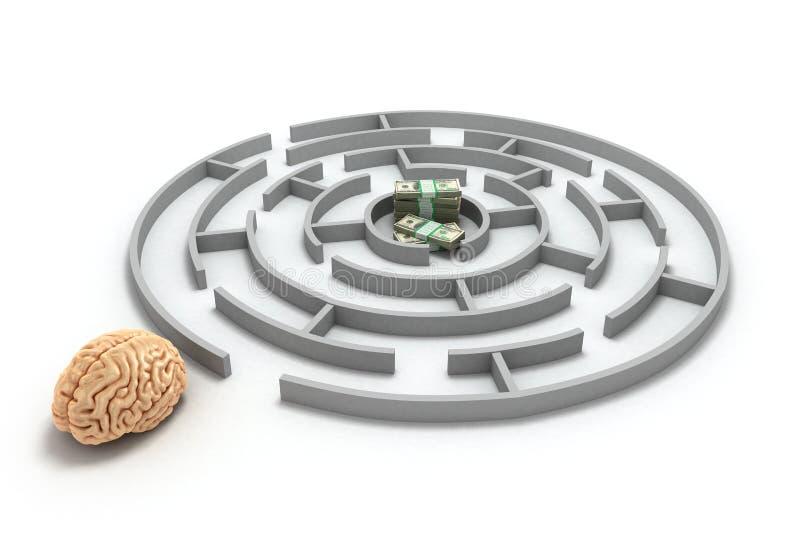 Begreppssökande av pengarhjärnor på ingången till labyrinten och Met vektor illustrationer