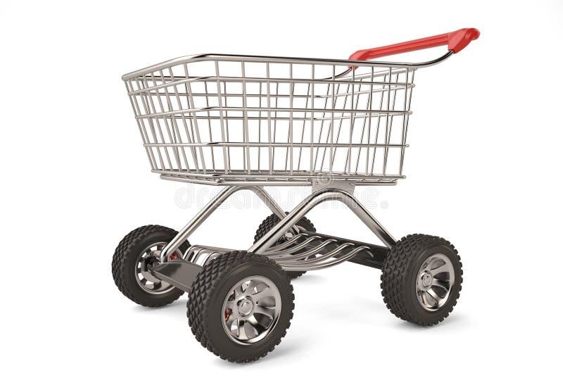Begreppsshoppingvagn med stor hög upplösning för bilhjul illu 3d royaltyfri illustrationer