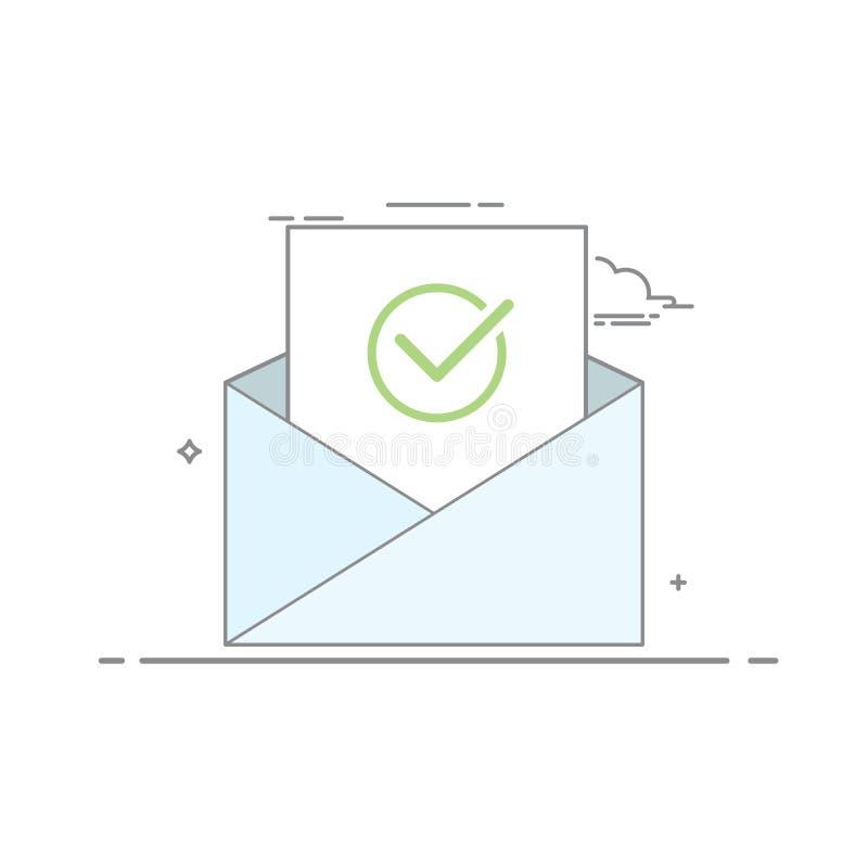 Begreppssymbolen öppnar en email med ett ark av papper och bilden av en fästing med grå färgöversikten Grön checkbox vektor illustrationer
