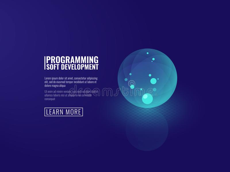 Begreppsutveckling av vektorn för genomskinlig lysande boll för ny tekniksymbol den isometriska stock illustrationer