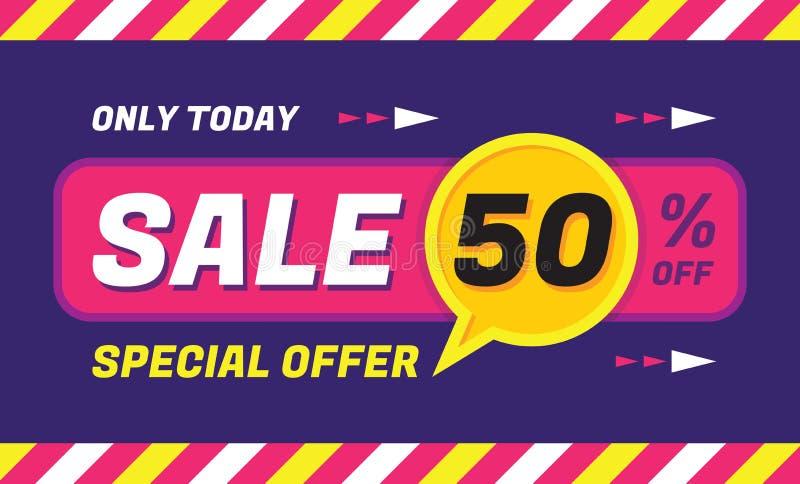 Begreppsvektorbaner - specialt erbjudande - endast i dag 50% av försäljningen som eveything Sale vektorbaner abstrakt bakgrundsfö royaltyfri illustrationer