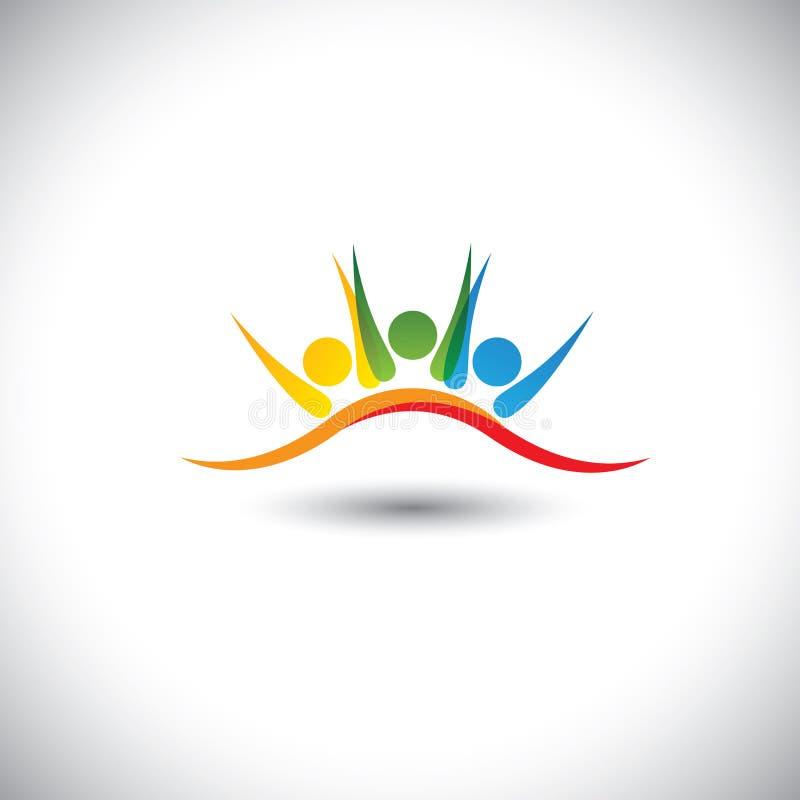 Begreppsvektorsymbol av lyckliga vänner tillsammans royaltyfri illustrationer