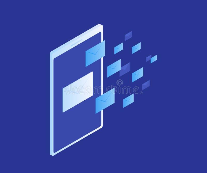 Begreppswebsitebaner av mejlskydd, anti--malwareprogramvara EmailSpammingattack Antivirusprogramvara, internetsäkerhet royaltyfri illustrationer