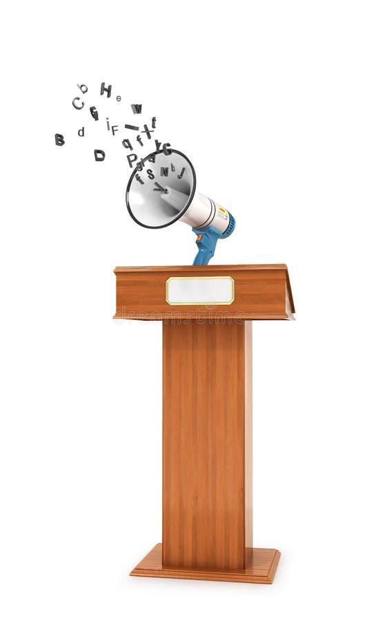 Begriff von Propaganda oder Freiheit Lautsprecher auf dem Trebune, von dem die Wörter heraus fliegen 3d vektor abbildung
