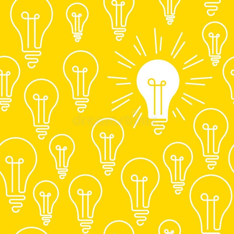 Begriffs-, nahtloses Muster, eine helle glänzende Glühlampe unter vielen stock abbildung