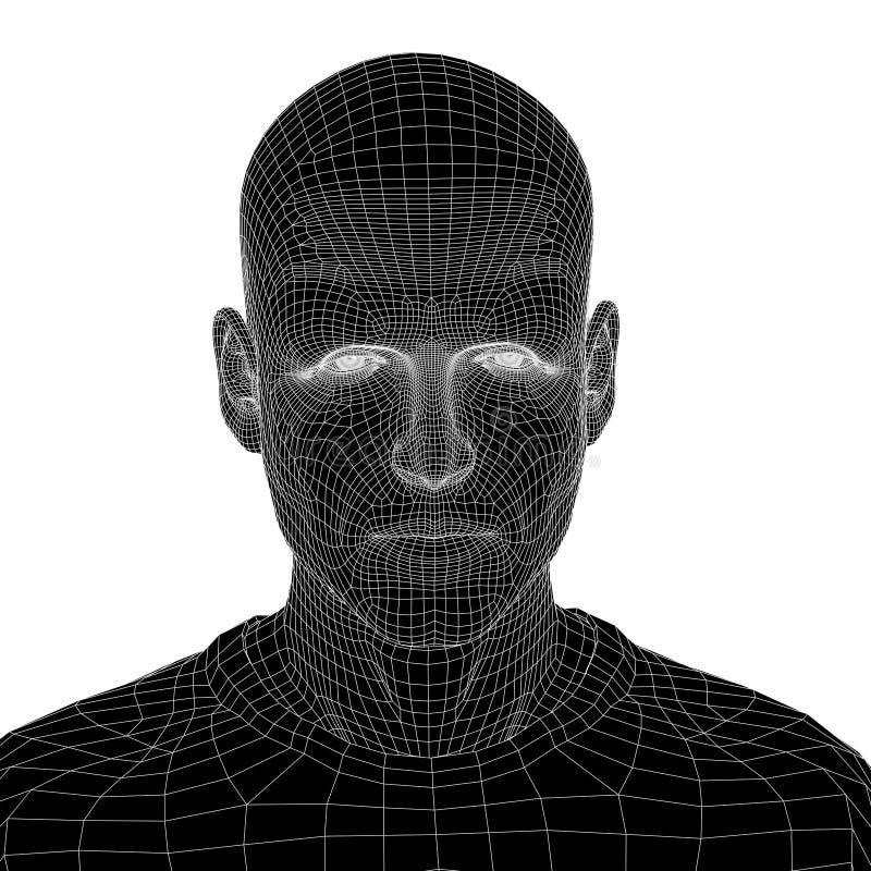 Begriffs-wireframe 3D menschlicher Mann oder Manngesicht oder -kopf lizenzfreie abbildung