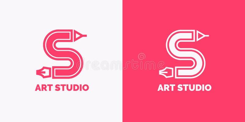 Begriffsaufkleber- und Emblemkunststudio Entwerfer Evgeniy Kotelevskiy stock abbildung