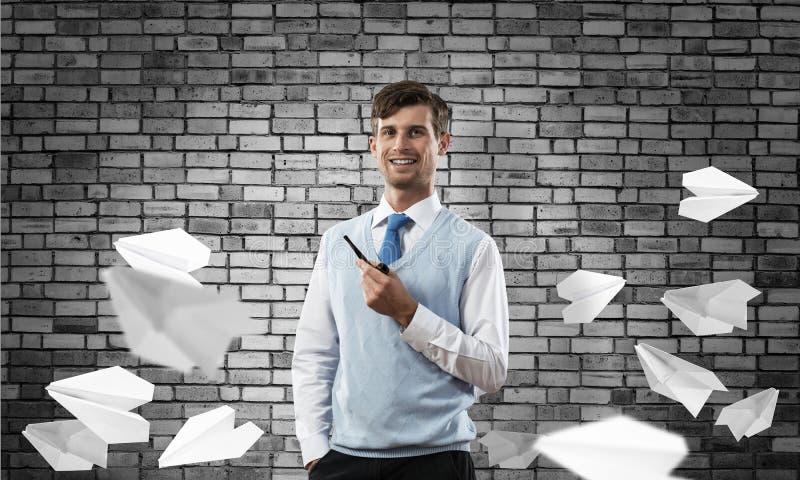 Begriffsbild des jungen Geschäftsmannes stockbilder