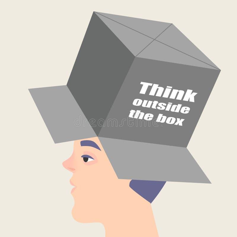 Begriffsbild eines Brainstormings Der Kerl mit einem Kasten auf seinem Kopf stock abbildung