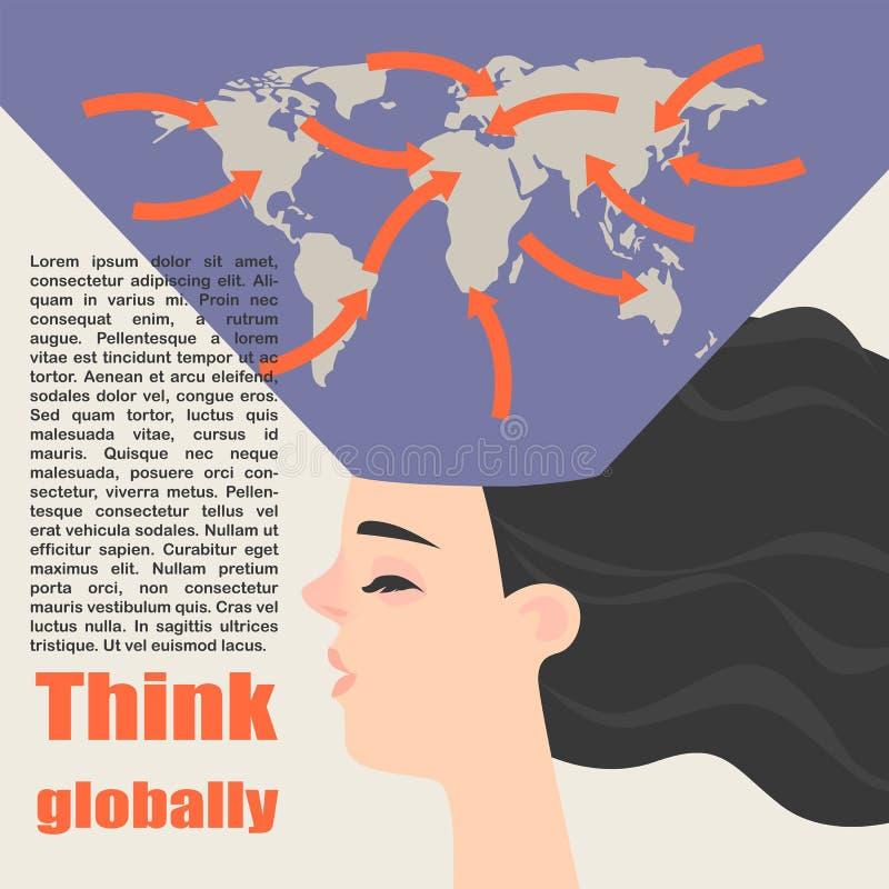 Begriffsbild eines globalen Denkens vektor abbildung