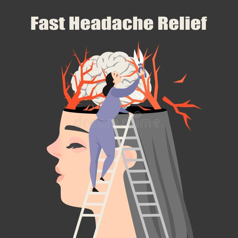 Begriffsbild eines Mädchens, das unter Kopfschmerzen leidet Behandlung der Migräne lizenzfreie abbildung