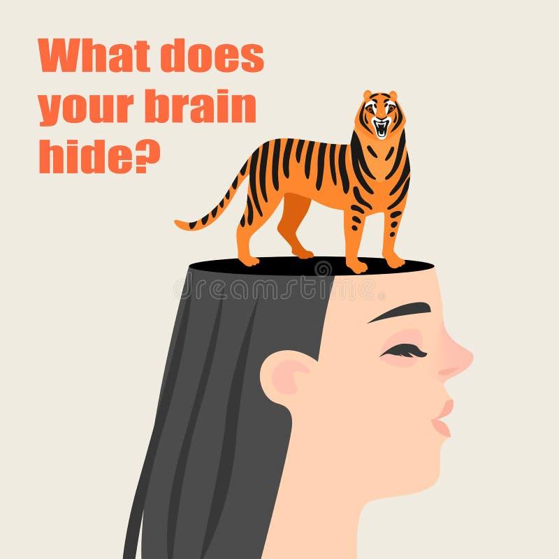 Begriffsbild eines Mädchens mit einem Tiger, der in ihrem Kopf sich versteckt Geheimnisse des menschlichen Gehirns stock abbildung