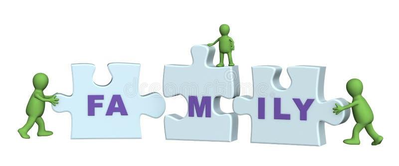 Begriffsbild - Familie, die ein Puzzlespiel bildet vektor abbildung
