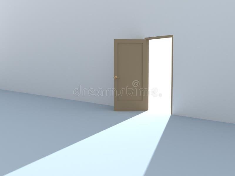 Begriffsbild - helle Leuchte von einer offenen Tür vektor abbildung