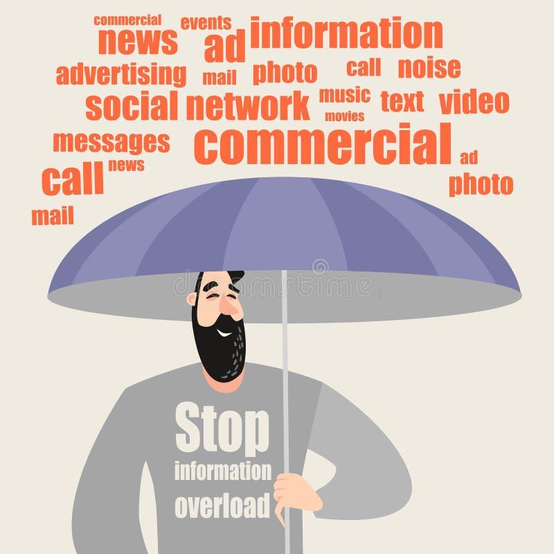 Begriffsbild - Informationsüberflutung Der Kerl mit dem Regenschirm versteckt sich vom Informationsfluss lizenzfreie abbildung