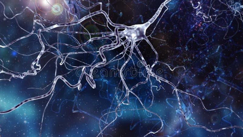 Begriffsbild mit Neuronzelle im abstrakten Raum lizenzfreie abbildung