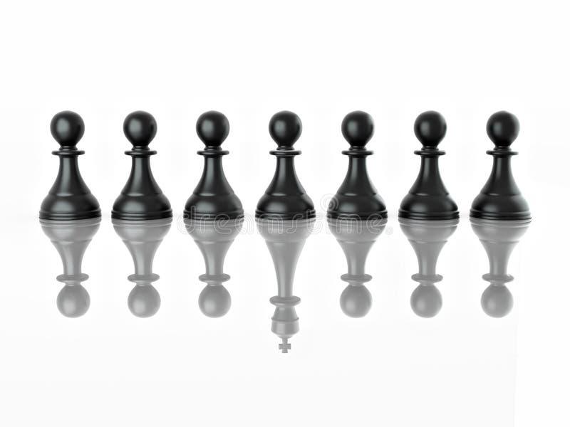 Begriffsbild von magalomania oder von uniqe. Schach stock abbildung