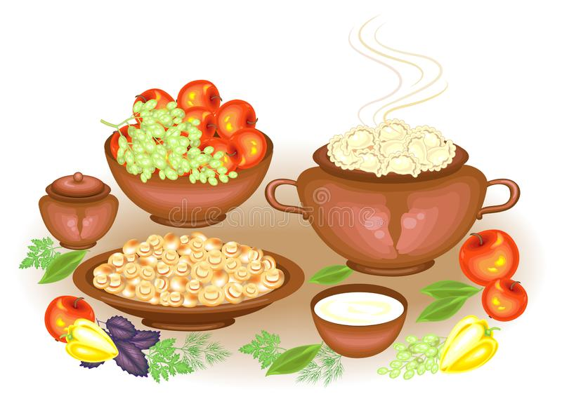 Begriffserntegraphik mit verschiedenem Gem?se auf dem Feld Auf dem festlichen reichen Tabelle vareniki Sahne, Pilzfrüchte, Äpfel, stock abbildung