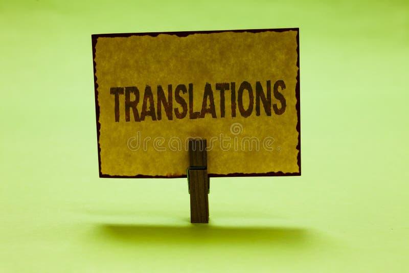Begriffshandschrift, die Übersetzungen zeigt Geschäftsfoto-Textgeschriebener oder Druckprozeß des Übersetzens fasst die Nizza Tex lizenzfreies stockfoto