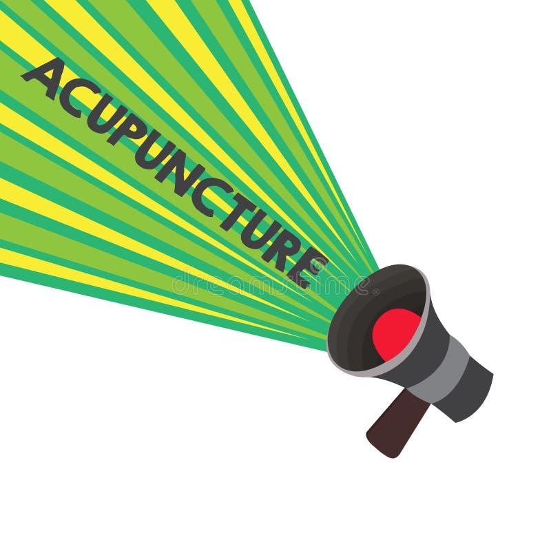 Begriffshandschrift, die Akupunktur zeigt Alternative Behandlung Therapie des Geschäftsfototextes für die Schmerz und Krankheit lizenzfreie abbildung