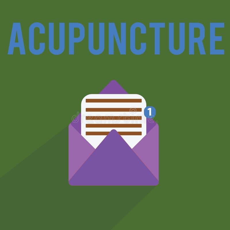 Begriffshandschrift, die Akupunktur zeigt Alternative Behandlung Therapie des Geschäftsfototextes für die Schmerz und Krankheit u lizenzfreie abbildung