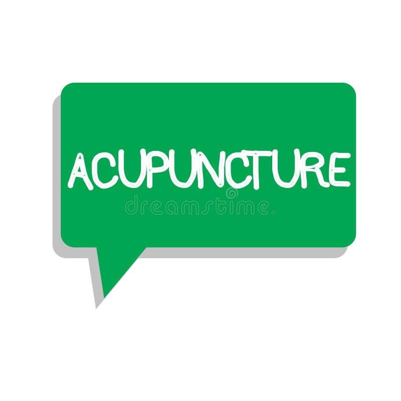 Begriffshandschrift, die Akupunktur zeigt Alternative Behandlung Therapie des Geschäftsfototextes für die Schmerz und Krankheit u stock abbildung